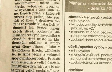 Brněnský aerobik má evropský bronz